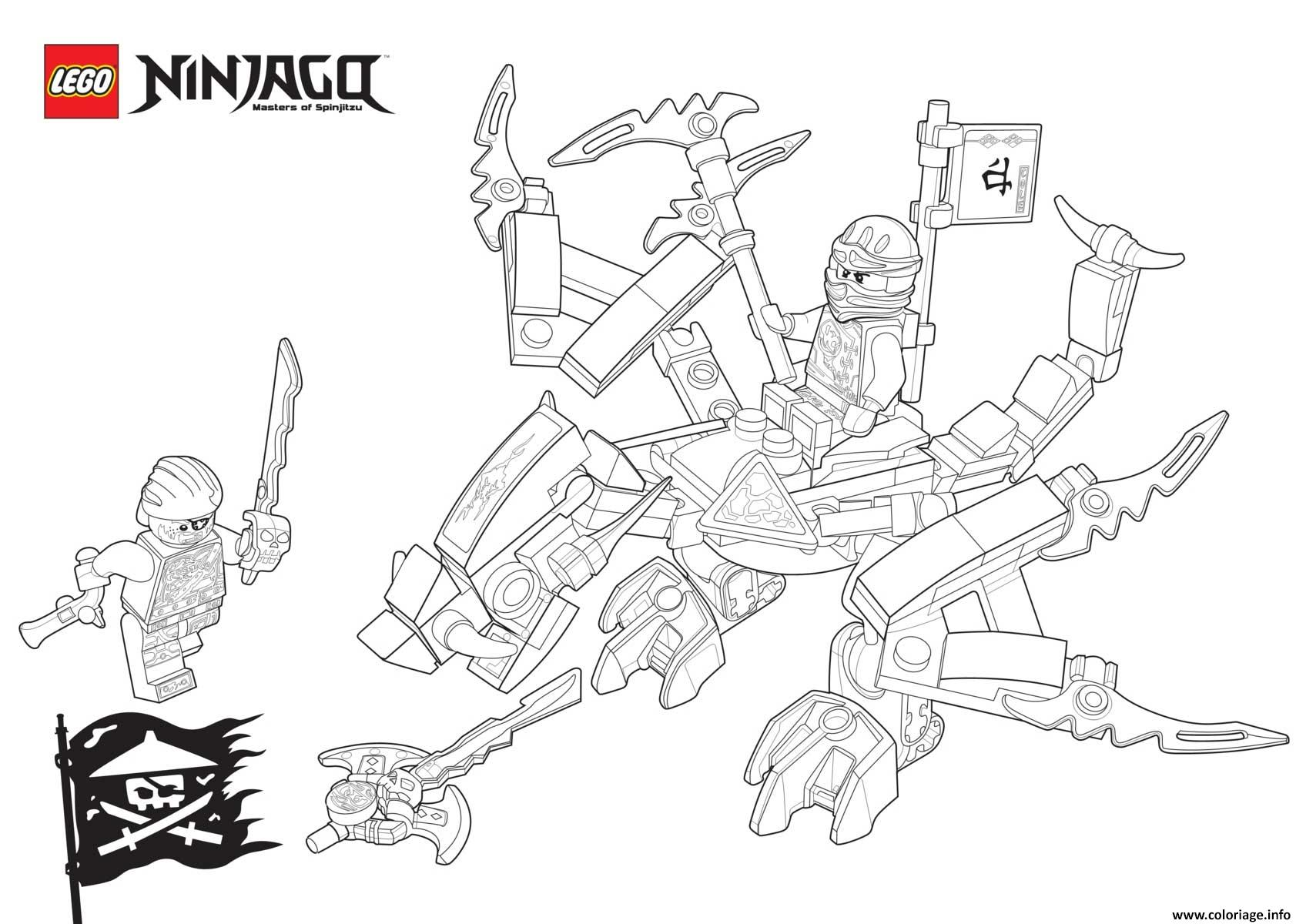 coloriage ninjago lego dragon contre bucko