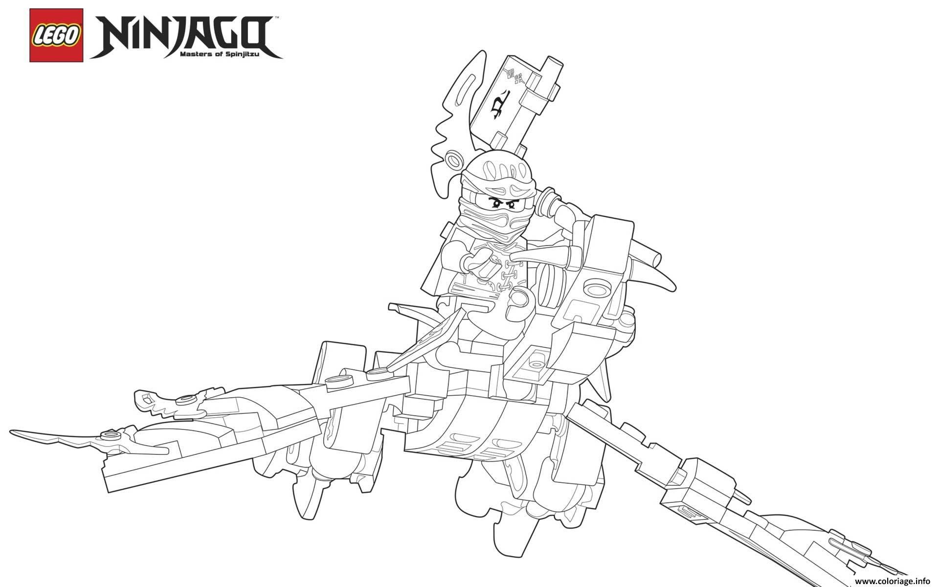 Dessin ninjago lego sur un dragon qui vole Coloriage Gratuit à Imprimer
