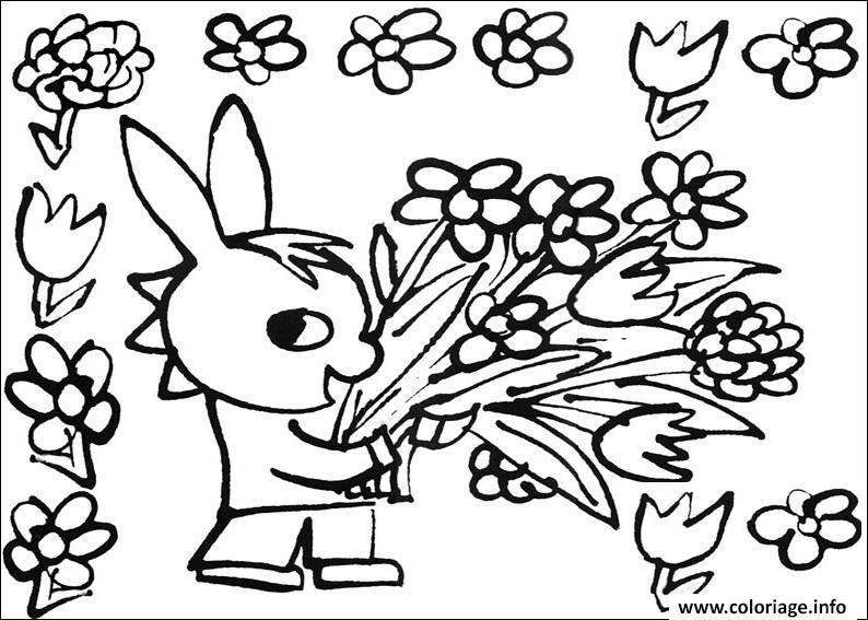 trotro avec un bouquet de fleurs roses coloriage dessin