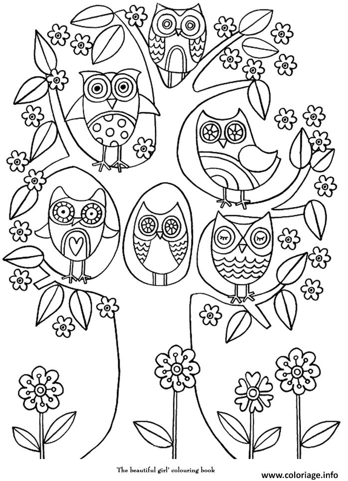 Coloriage art therapie 21 dessin - Hiboux coloriage ...