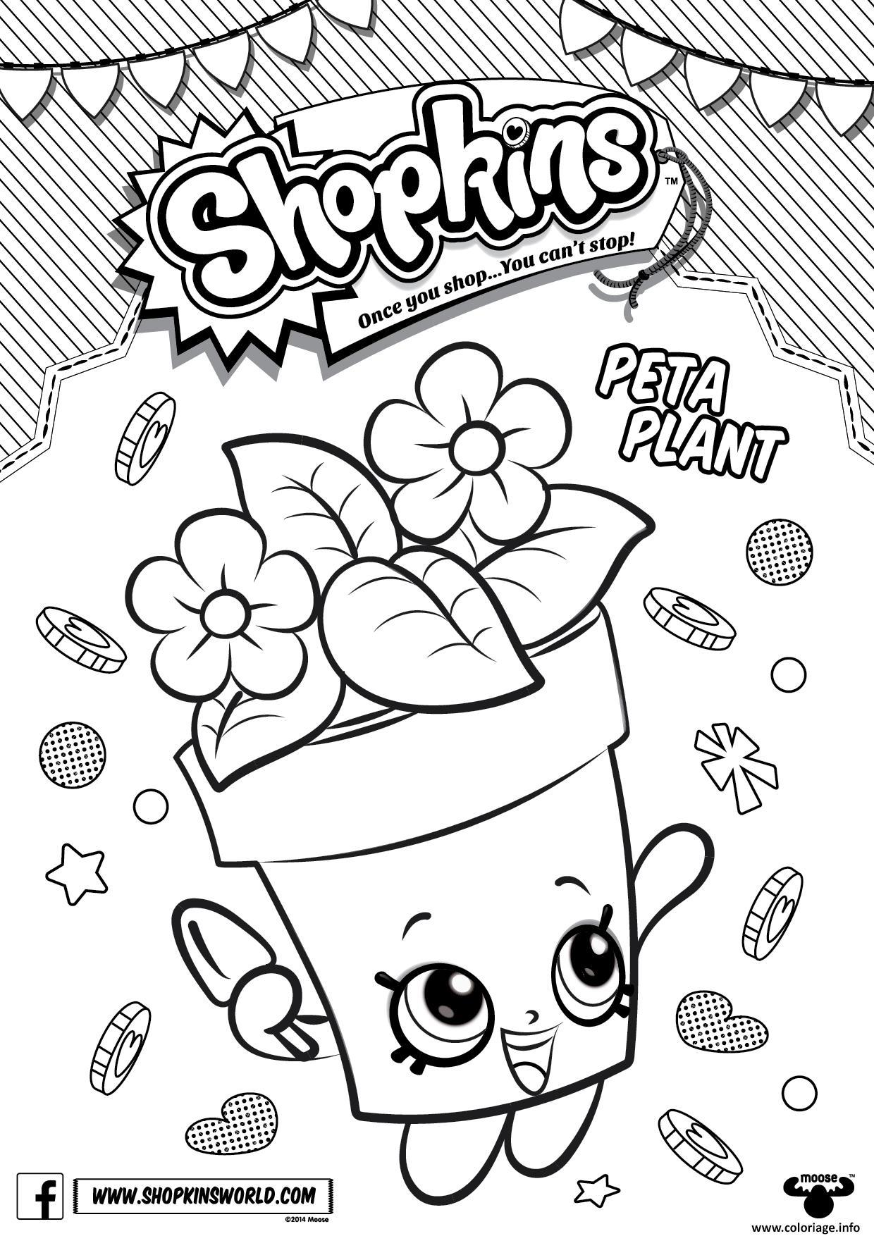 Dessin shopkins peta plant Coloriage Gratuit à Imprimer