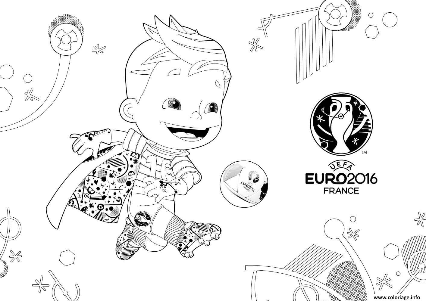 Coloriage mascotte euro 2016 france uefa - France football gratuit ...