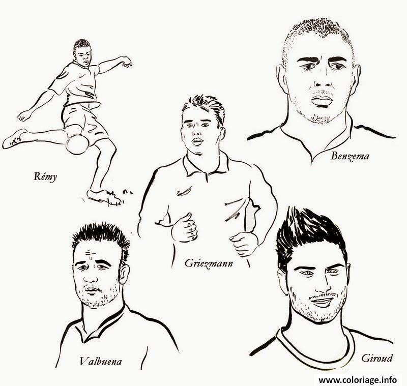 Coloriage Foot St Etienne.Coloriage Foot Karimbenzema Griezmann Remy Giroud Valbuena Dessin