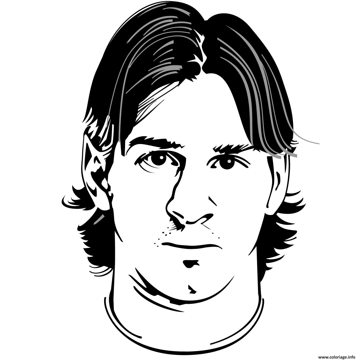 Coloriage portrait foot lionel messi visage dessin - Coloriage visage ...