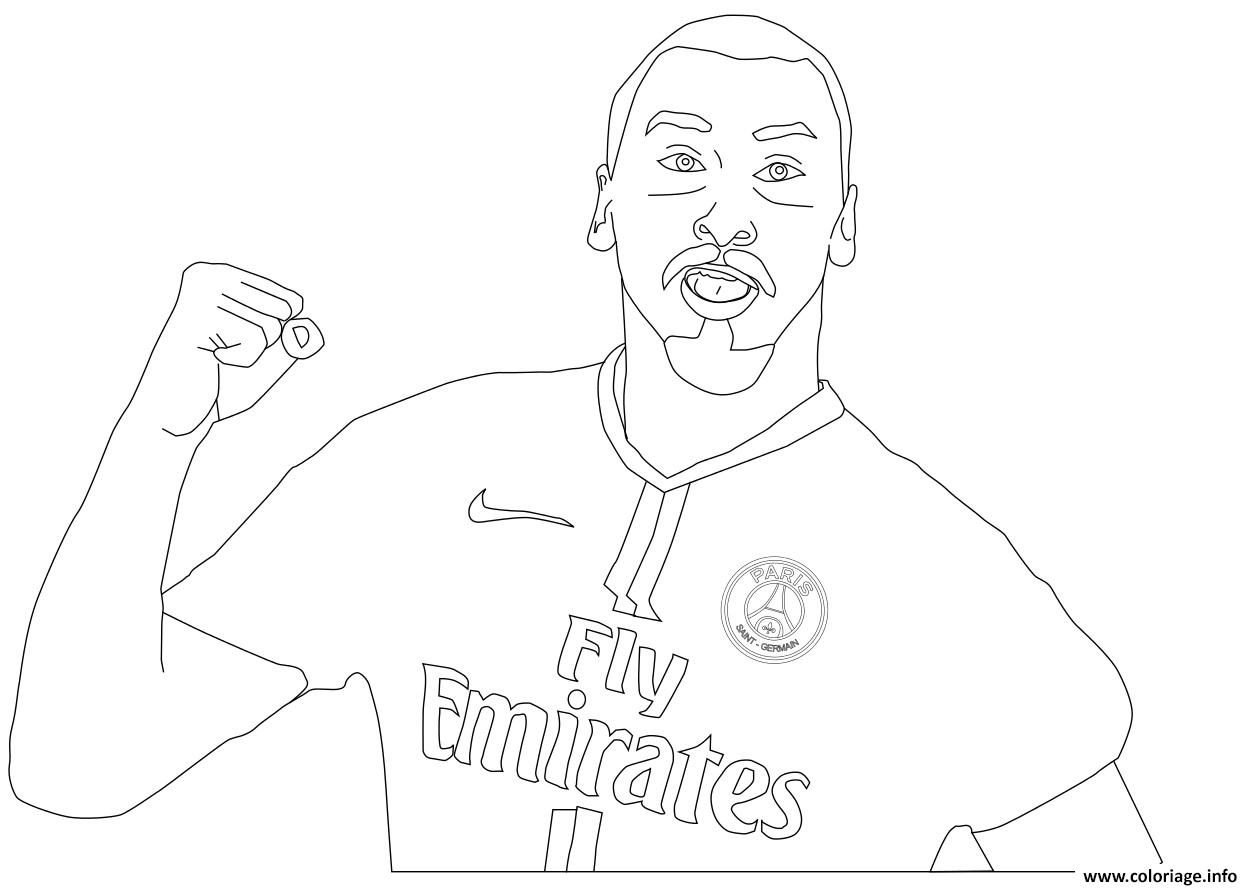 Coloriage Zlatan Ibrahimovic Foot Paris Psg France Dessin