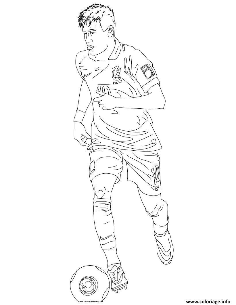 Coloriage Neymar Joueur De Foot Barcelone Dessin Foot A Imprimer