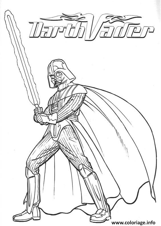 Coloriage Dark Vador Star Wars En Action Dessin à Imprimer