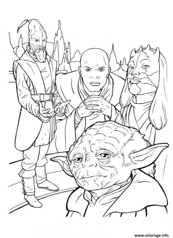 Dessin personnages de star wars yoda Coloriage Gratuit à Imprimer