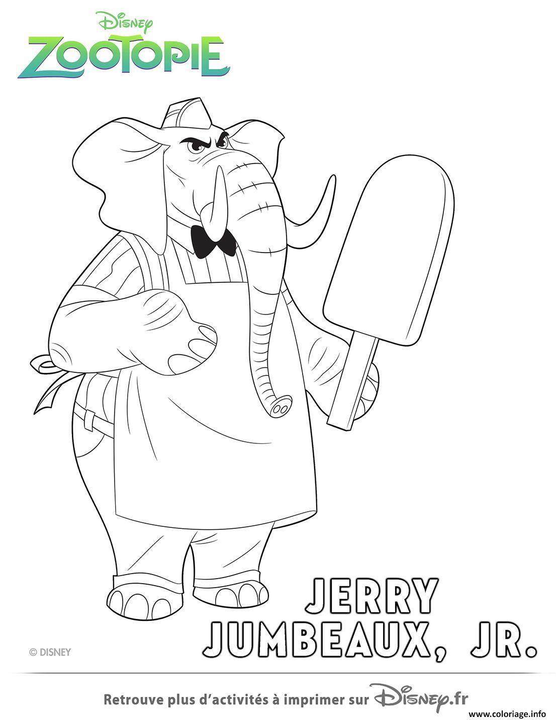 Dessin jerry le vendeur de glace de zootopie Coloriage Gratuit à Imprimer