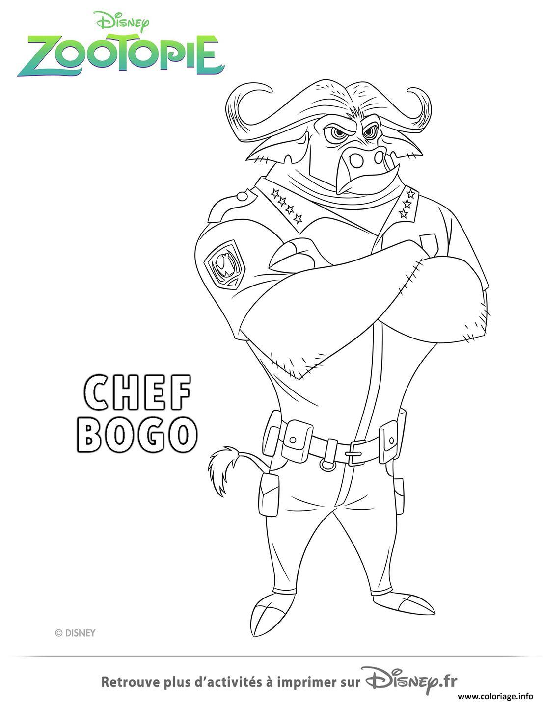 Dessin chef bogo de la police de zootopie Coloriage Gratuit à Imprimer