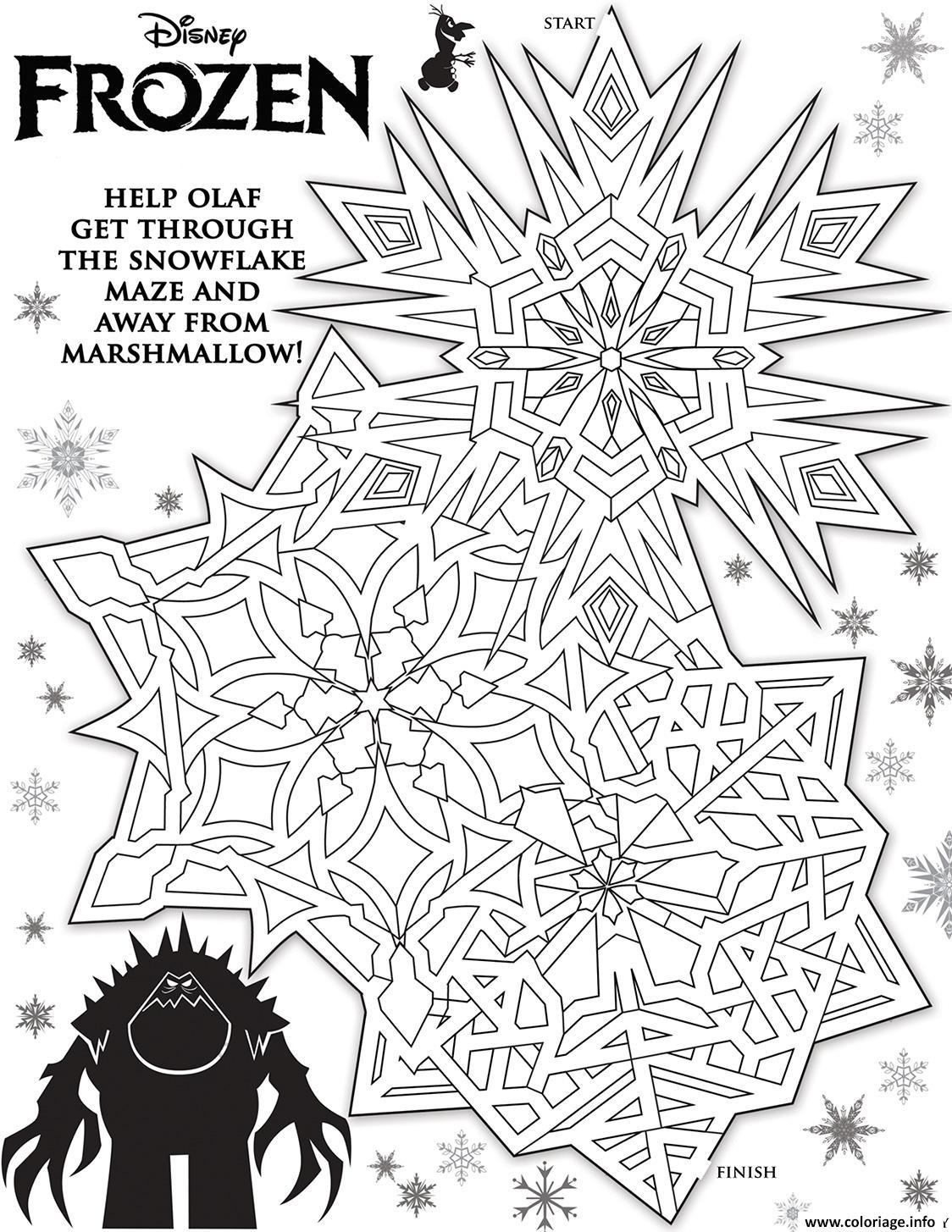 Dessin olaf labyrinthe reine des neiges Coloriage Gratuit à Imprimer
