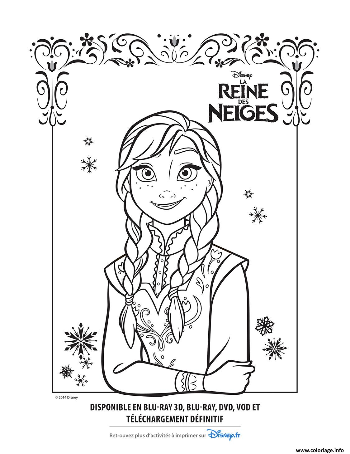 Coloriage Anna La Reine Des Neiges Disney Dessin
