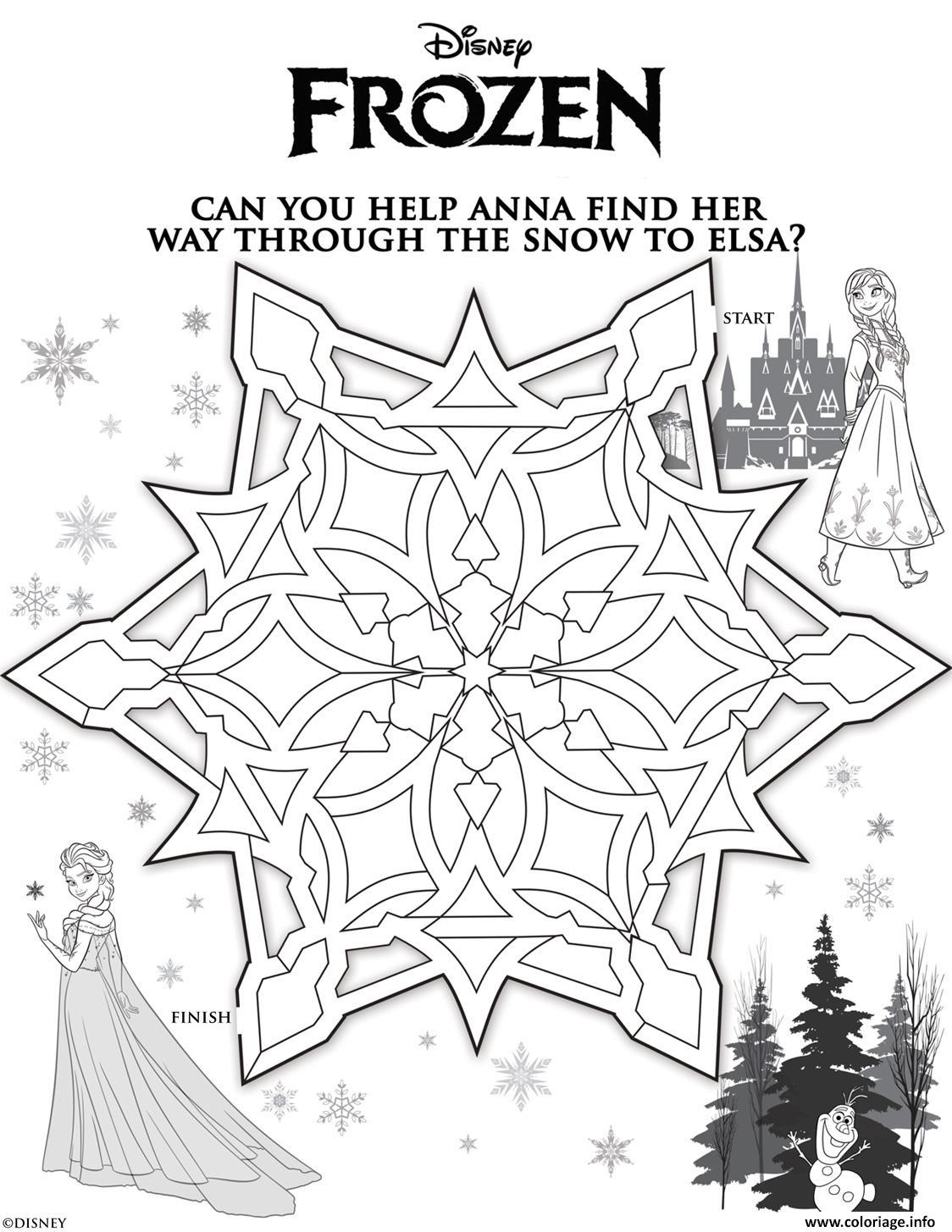 Coloriage anna labyrinthe reine des neiges - Labyrinthe dessin ...