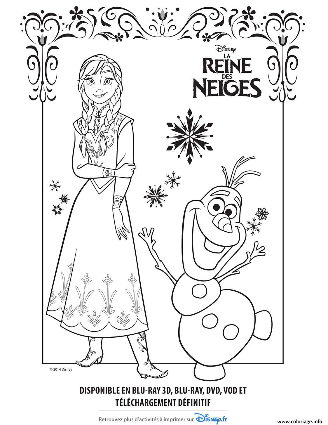 Coloriage Reine Des Neiges Anna Elsa Et Olaf.Coloriage Anna Olaf Reine Des Neiges Disney Frozen Jecolorie Com