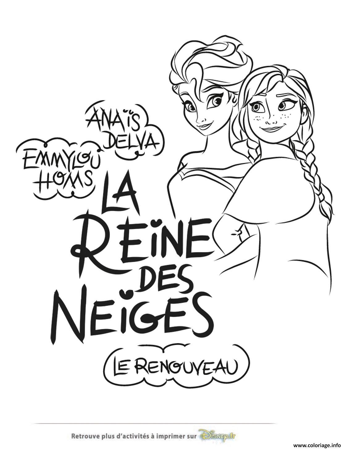 Coloriage soeurs elsa anna reine des neiges disney dessin - Elsa reine des neiges dessin ...