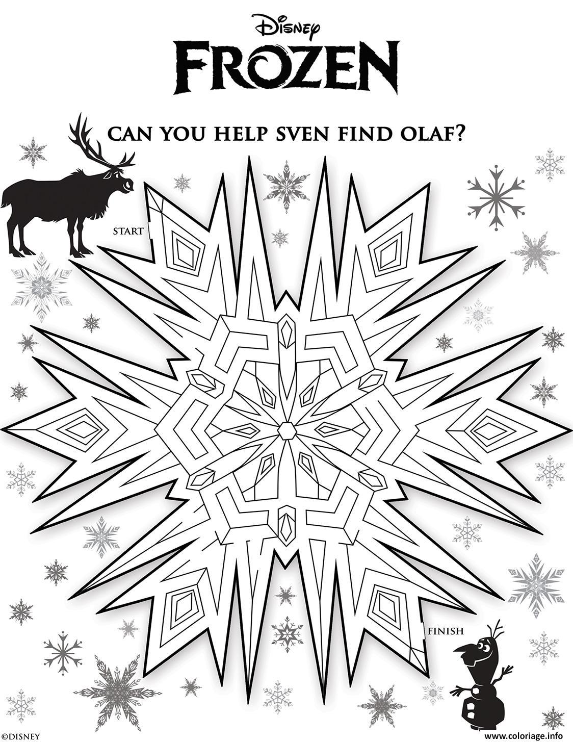 Dessin sven labyrinthe reine des neiges Coloriage Gratuit à Imprimer