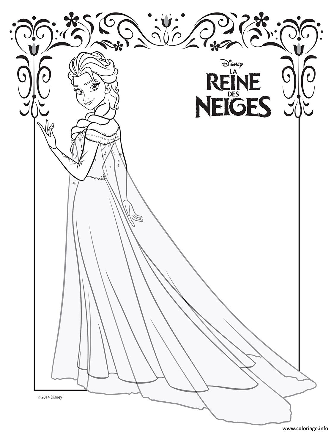 coloriage elsa et sa robe de glace frozen disney. Black Bedroom Furniture Sets. Home Design Ideas