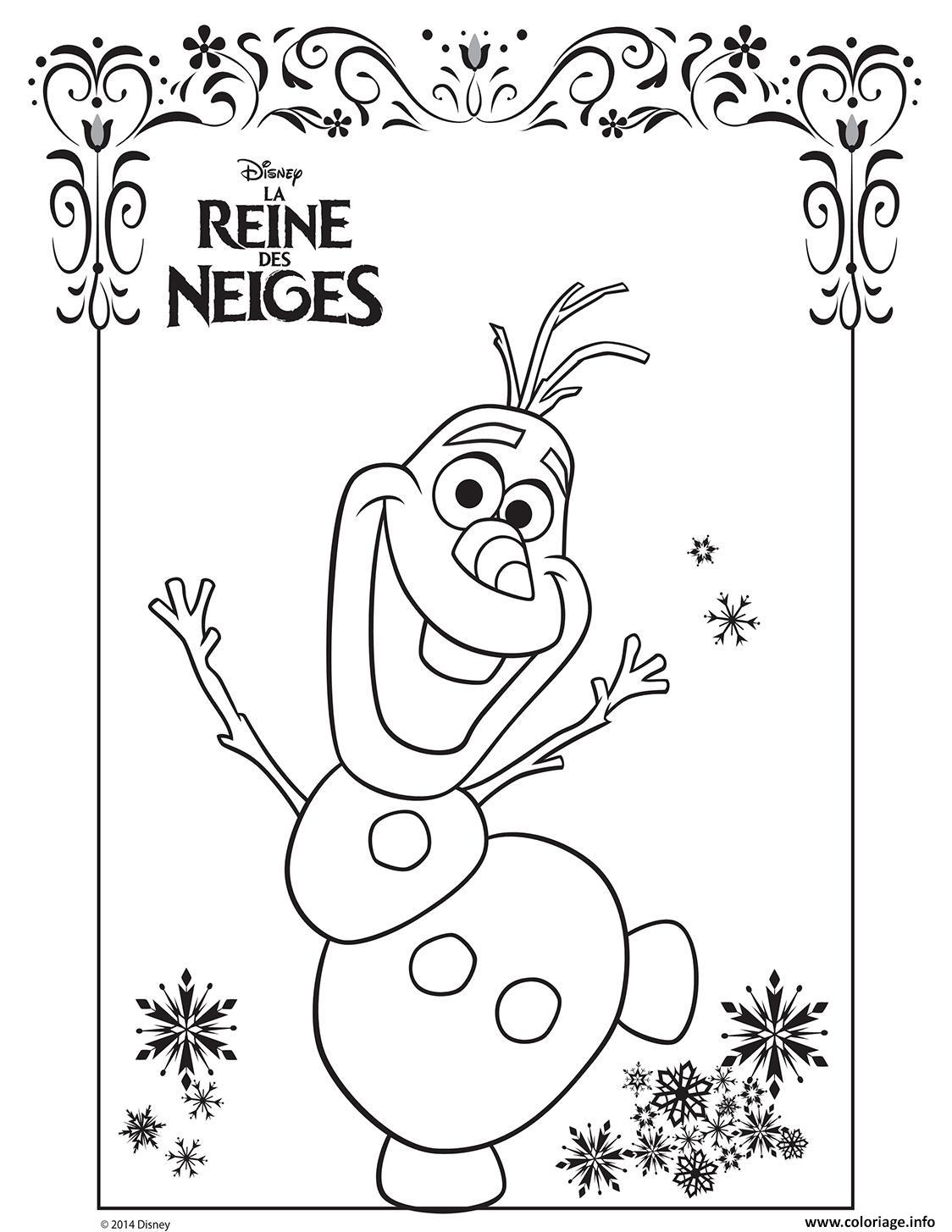 Coloriage olaf la reine des neiges disney frozen dessin - Reine coloriage ...