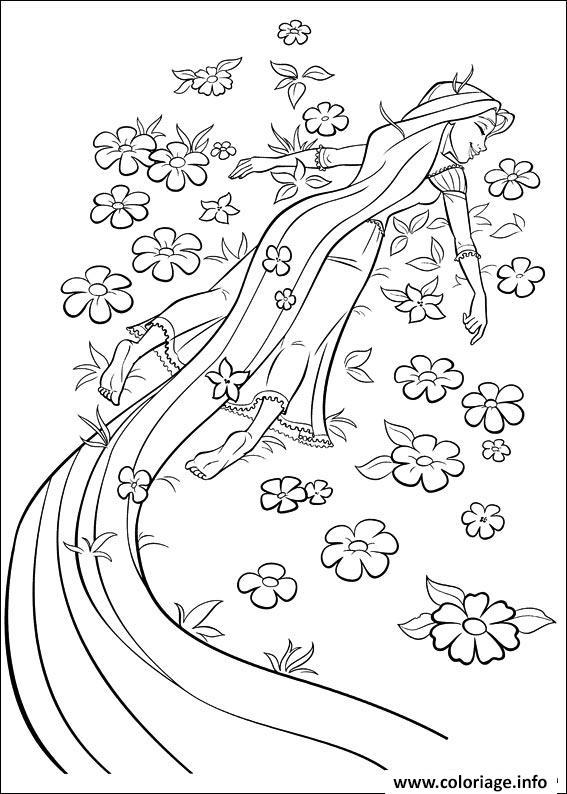 Dessin raiponce est libre fleurs disney princesse Coloriage Gratuit à Imprimer