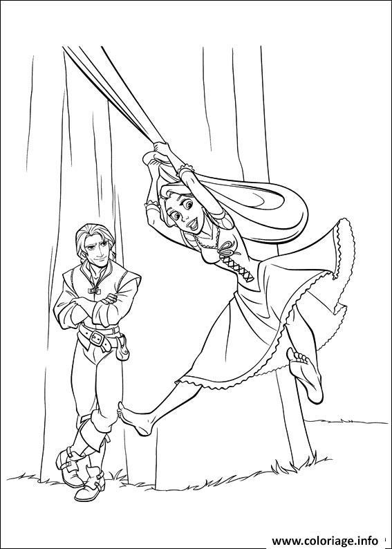 Dessin raiponce se balance princesse disney Coloriage Gratuit à Imprimer