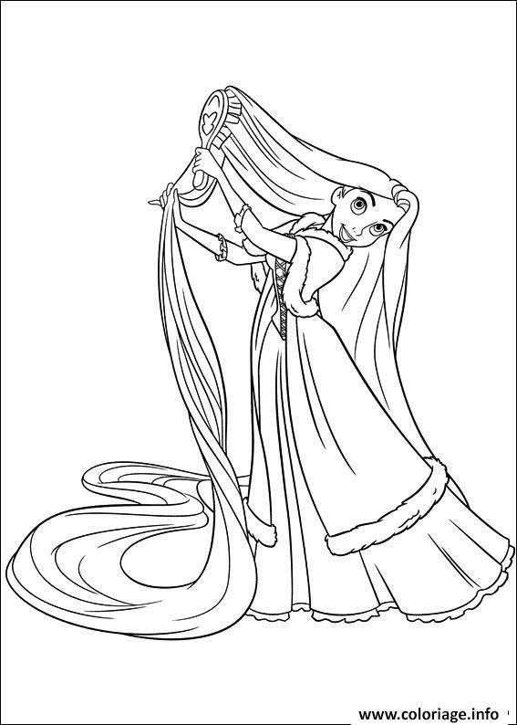 Coloriage raiponce se brosse les cheveux disney dessin - Dessin raiponce ...