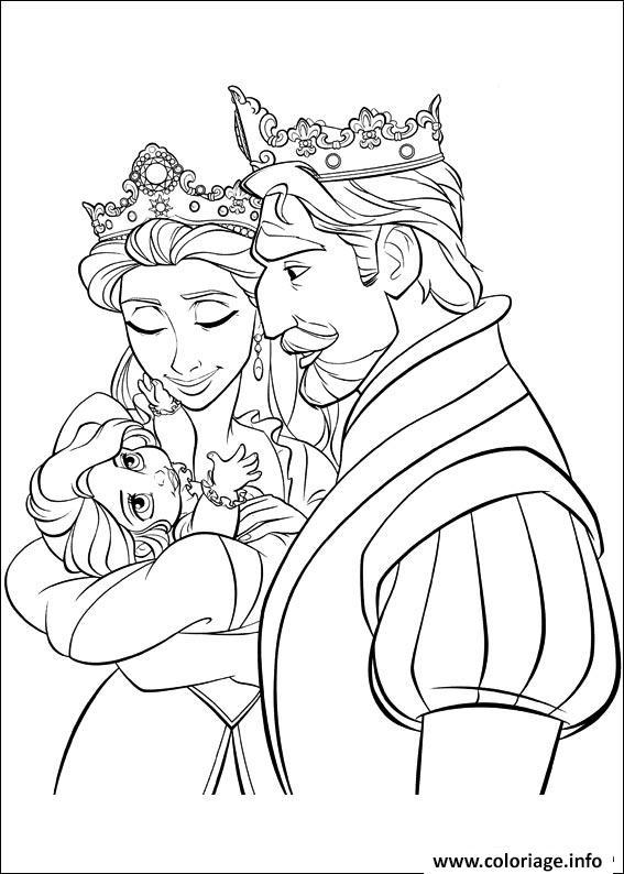 Dessin la naissance de raiponce princesse Coloriage Gratuit à Imprimer
