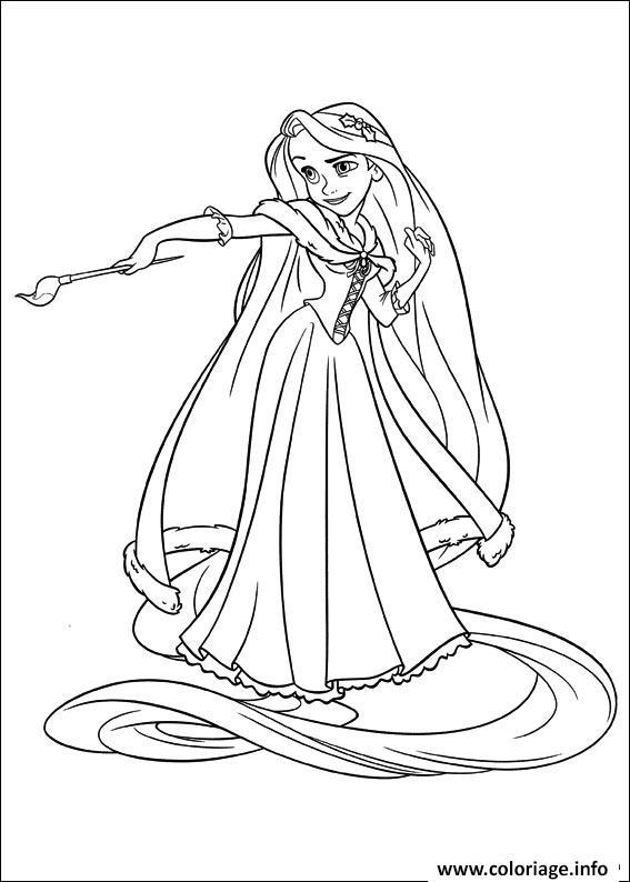 Dessin princesse raiponse est une artiste Coloriage Gratuit à Imprimer