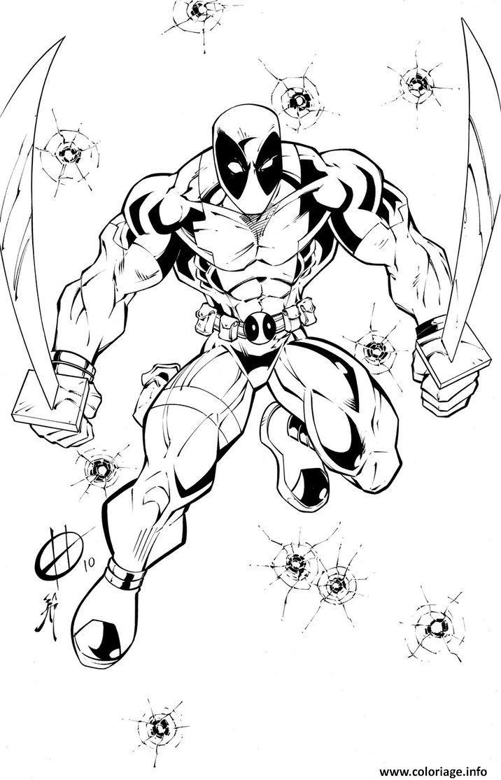 Coloriage deadpool avec deux epees dessin - Deadpool dessin ...