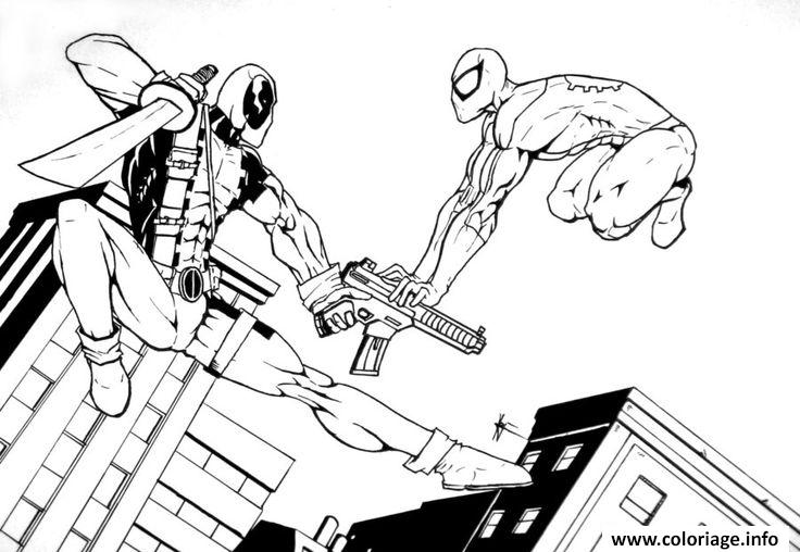 Coloriage Deadpool Vs Superman Heroes Dessin Deadpool A Imprimer