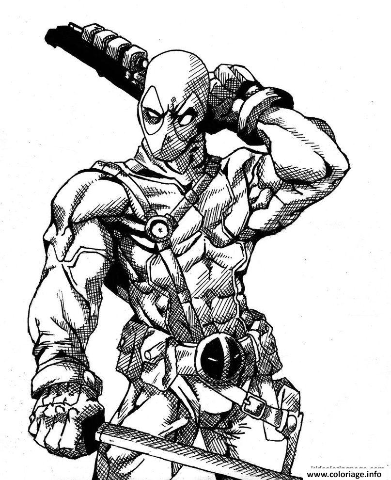 Coloriage Deadpool Details Hd Dessin Coloring Pages