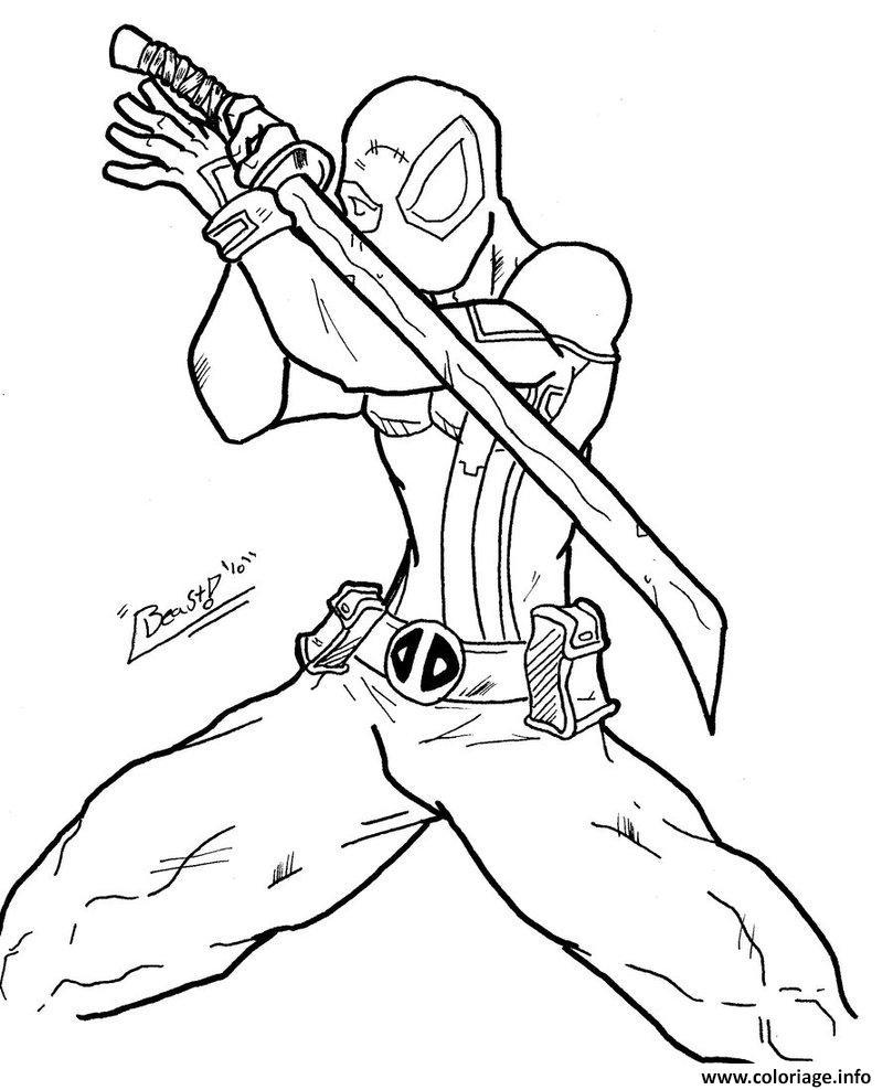 Coloriage deadpool en ninja - Deadpool dessin ...