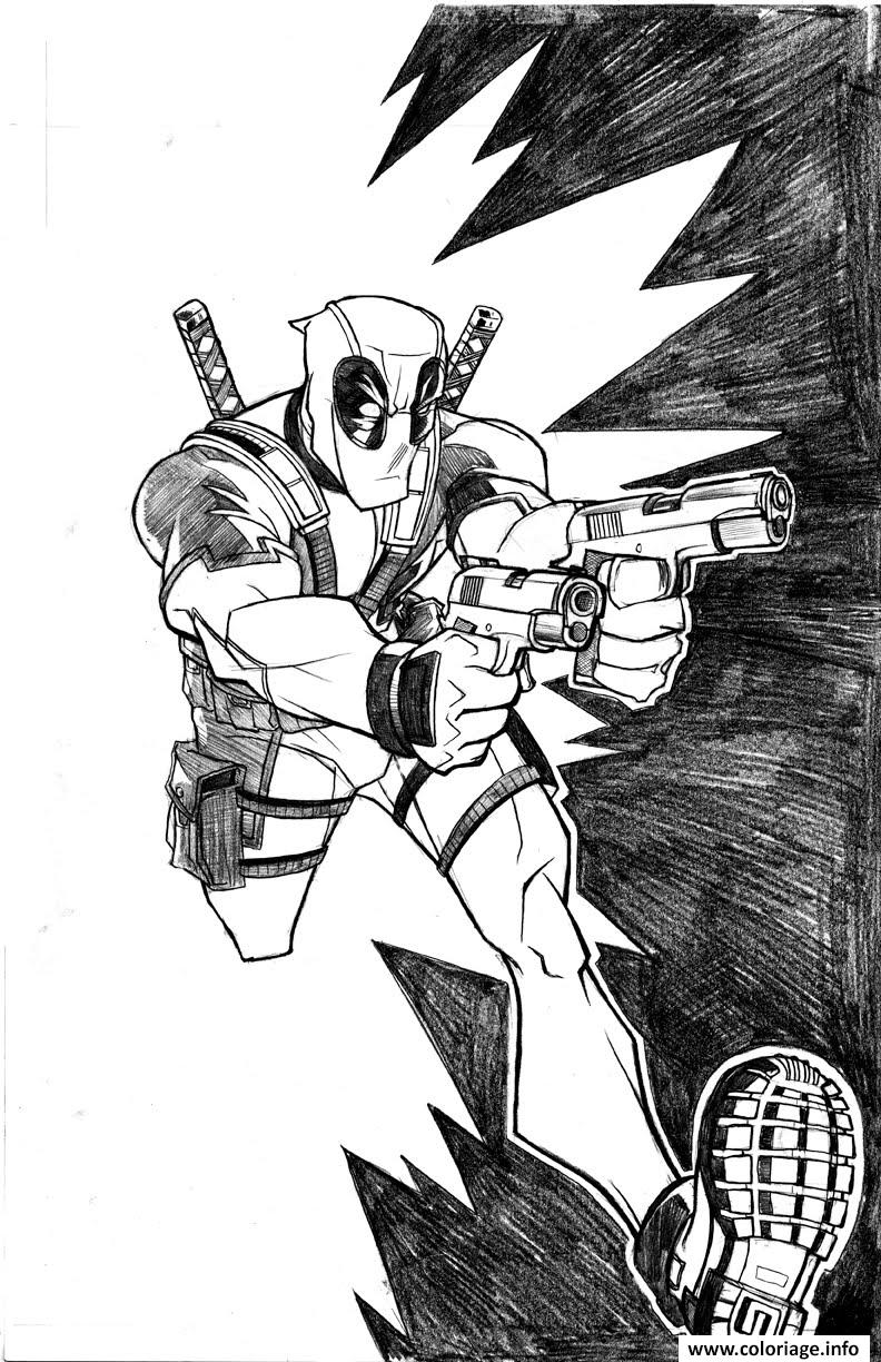 Coloriage deadpool course avec fusil dessin - Dessin deadpool ...