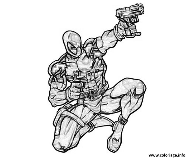 Coloriage Deadpool Marvel Shoot Dessin à Imprimer