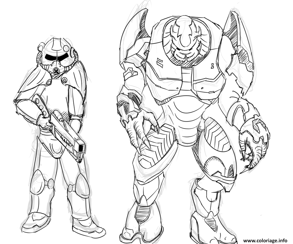 Coloriage Brotherhood Of Steel Et Elites De Halo Par Zonalar Dessin à Imprimer