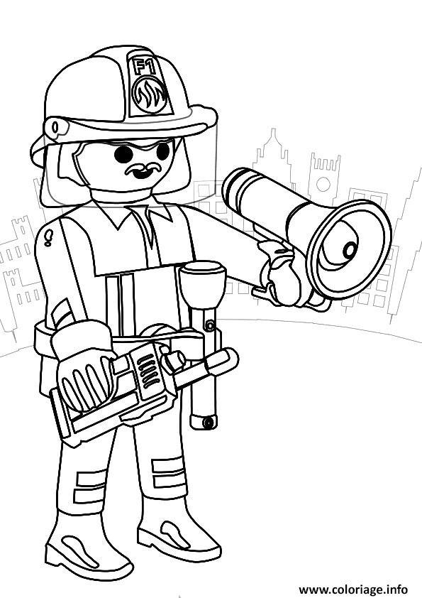 playmobil pompier coloriage dessin