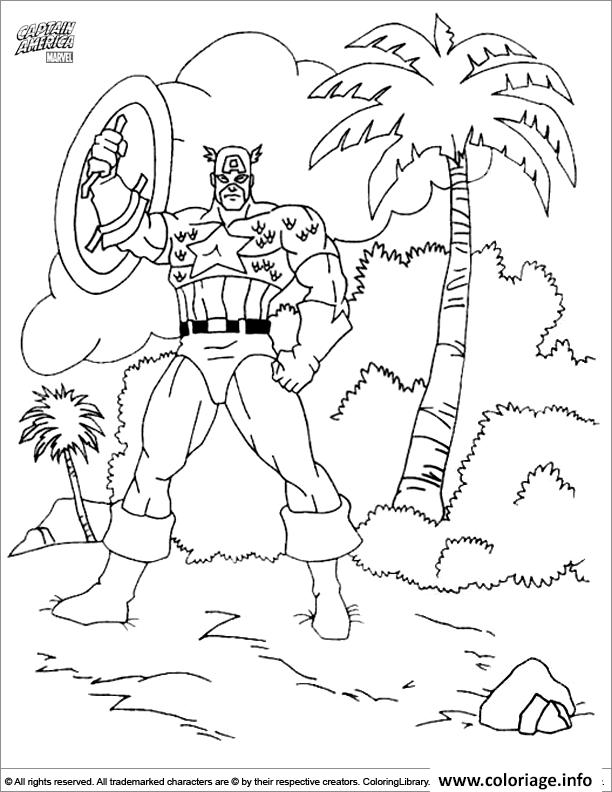 Dessin colorier captain america 290 Coloriage Gratuit à Imprimer