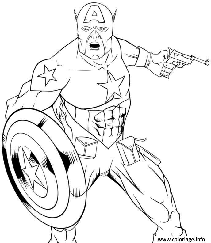 Dessin colorier captain america 66 Coloriage Gratuit à Imprimer