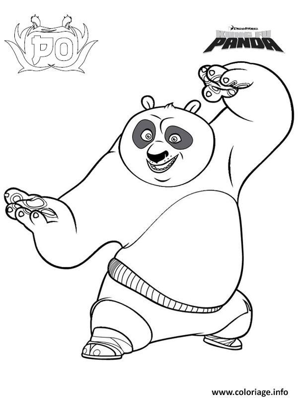 Dessin Po fait du kung fu se positionne Coloriage Gratuit à Imprimer