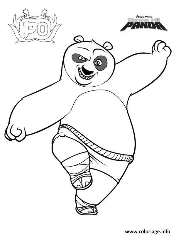 Dessin Po le Panda de fung fu panda Coloriage Gratuit à Imprimer