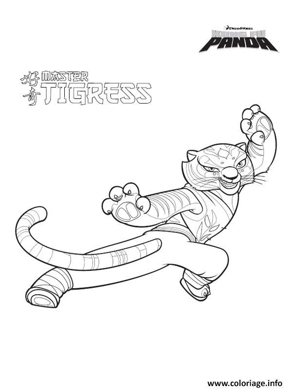 Dessin master tigresse kung fu panda Coloriage Gratuit à Imprimer