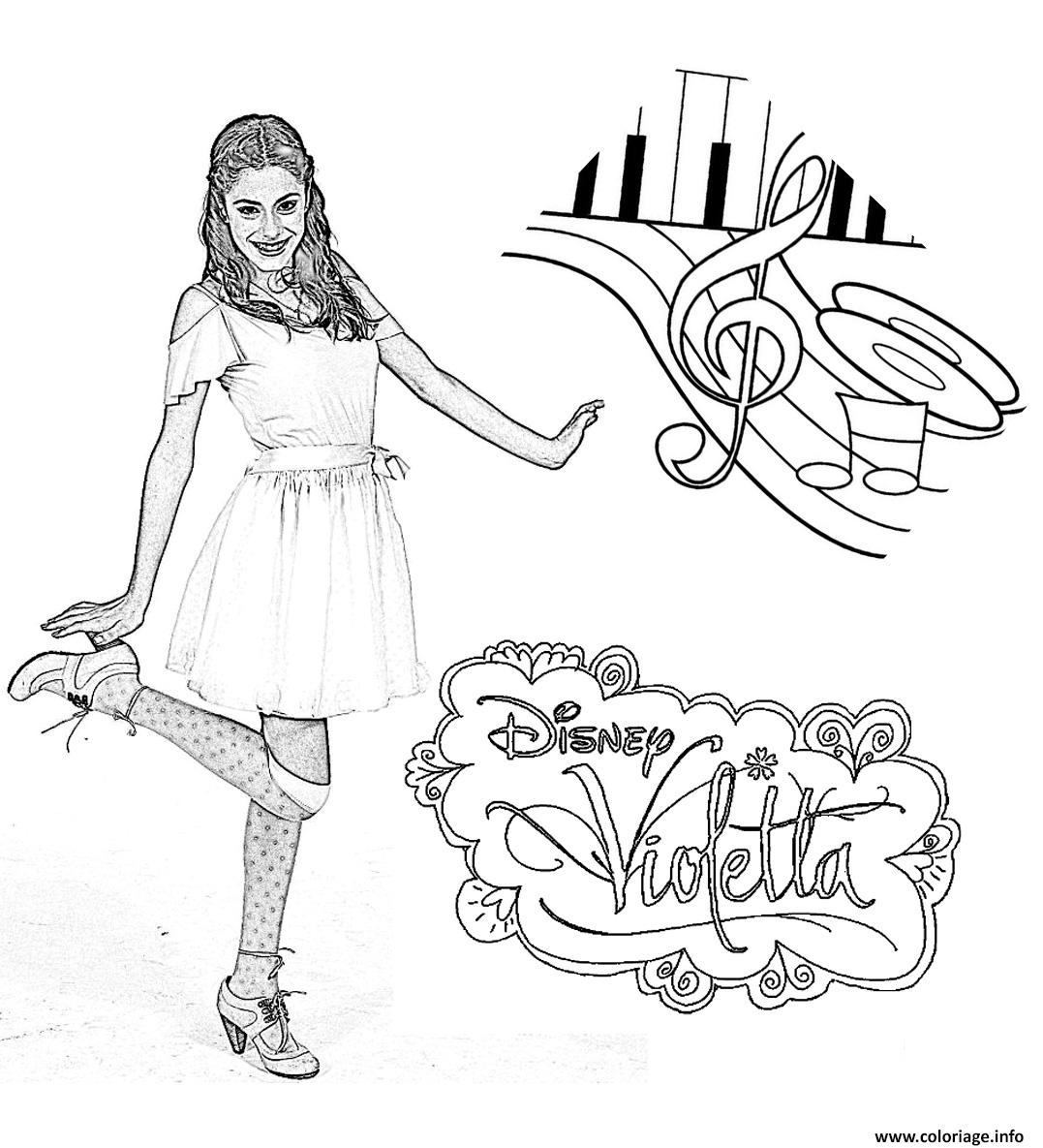 coloriage violetta danse notes dessin gratuit