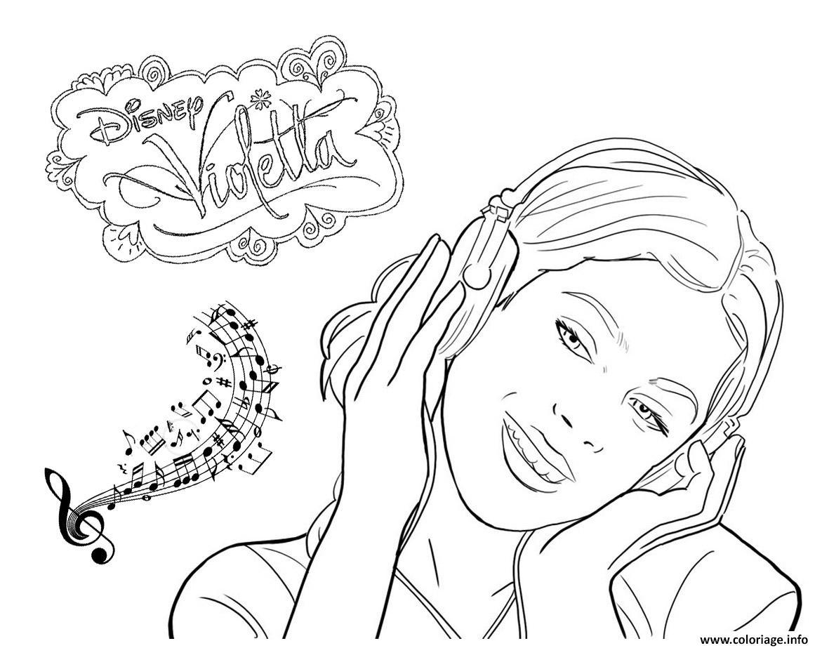 coloriage violetta musique disney dessin imprimer - Coloriage Violetta En Ligne