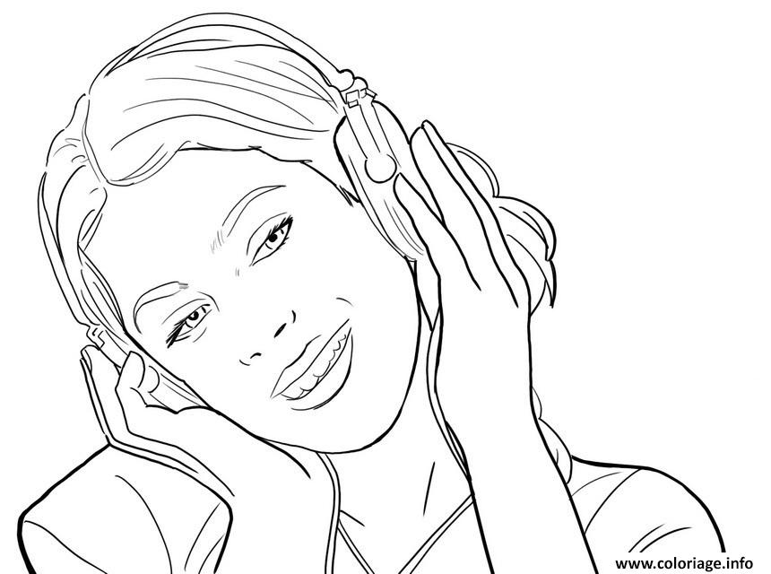 violetta ecoute la musique coloriage dessin