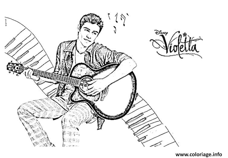 Dessin violetta thomas guitare Coloriage Gratuit à Imprimer