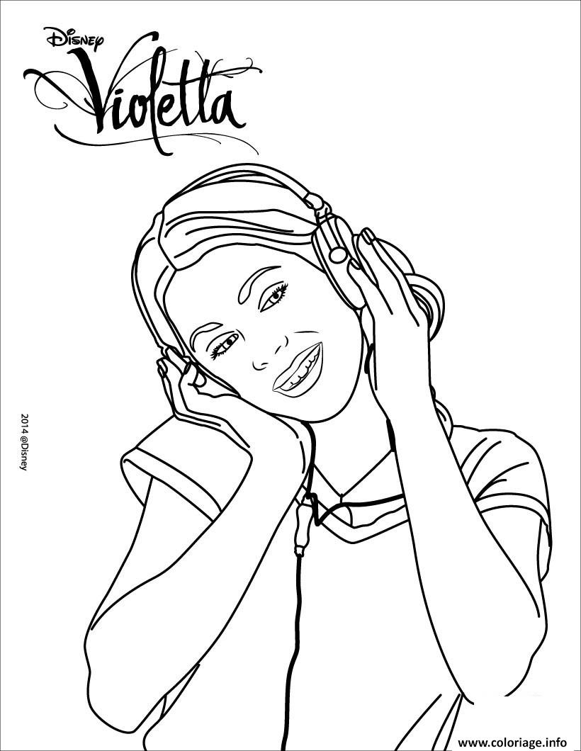 violetta ecoute de la musique coloriage