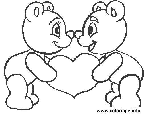 Coloriage coeur nounours - Coeur coloriage ...