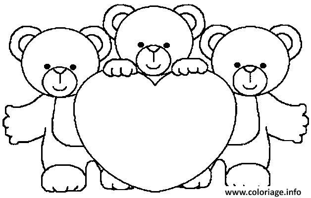 Coloriage 3 nounours coeur dessin - Coeur en dessin ...