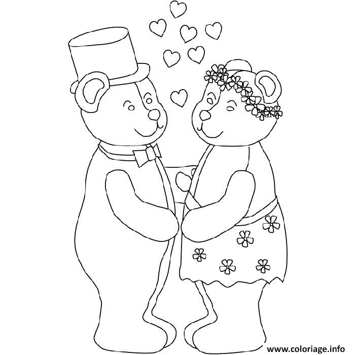 coloriage mariage nounours dessin. Black Bedroom Furniture Sets. Home Design Ideas