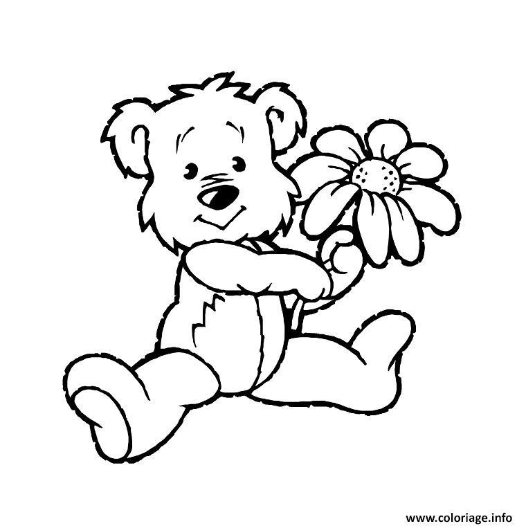 Coloriage nounours et fleur dessin - Image fleur dessin ...