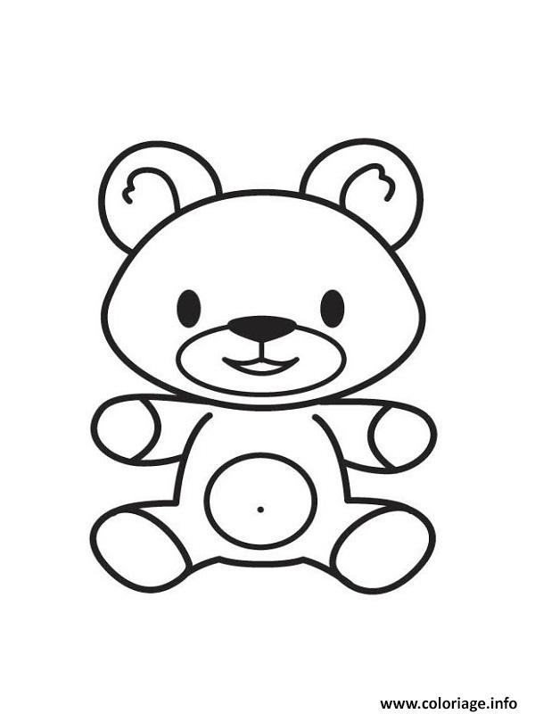 Coloriage simple petit nounours dessin - Petit coloriage ...